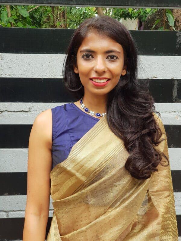 navy blue silk sleeveless blouse
