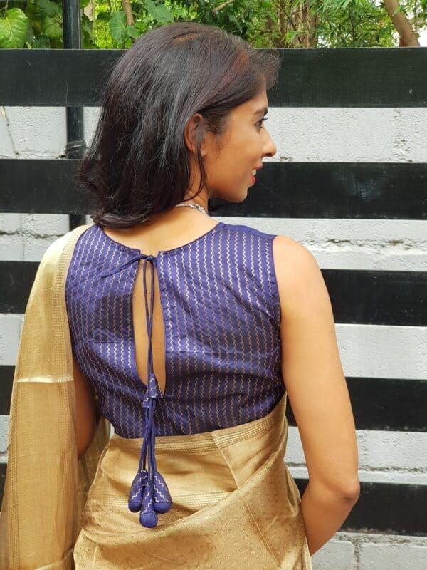 navy blue silk sleeveless blouse1