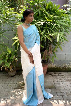 off white with blue box pattern kanchi silk saree