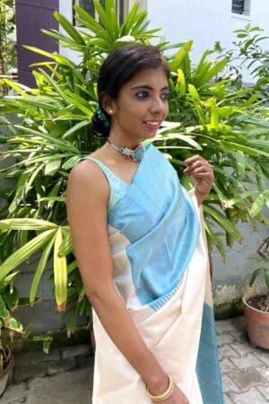 off white with blue box pattern kanchi silk saree1