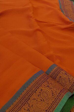 orange chiffon with kanchi cotton border1