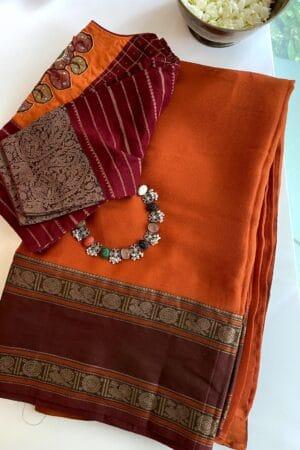 orange chiffon with retta pettu kanchi cotton border1