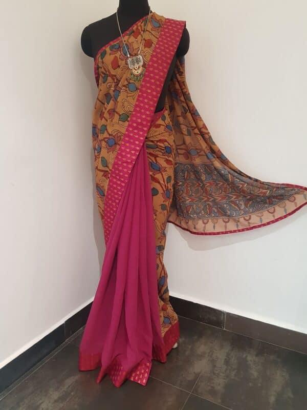 pale beige chiffon saree with maroon border1