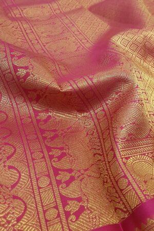 pastel blue with rani pink korvai border kanchi silk saree3