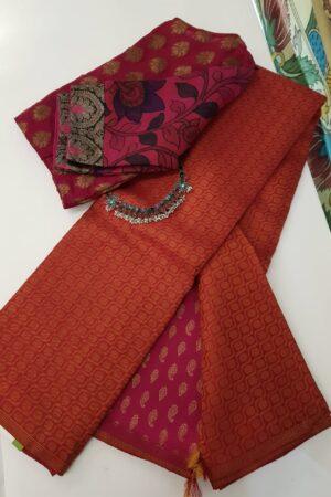 pink and orange box type kanchipuram silk saree