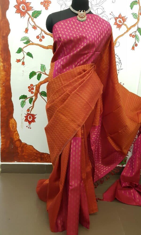 pink and orange box type kanchipuram silk saree1