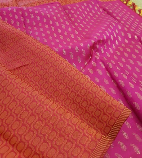 pink and orange box type kanchipuram silk saree2