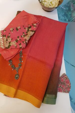 pink and orange moonga linen saree
