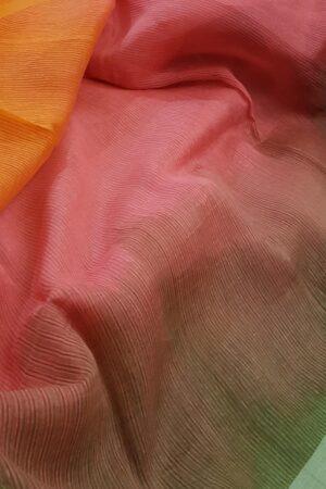 pink and orange moonga linen saree2