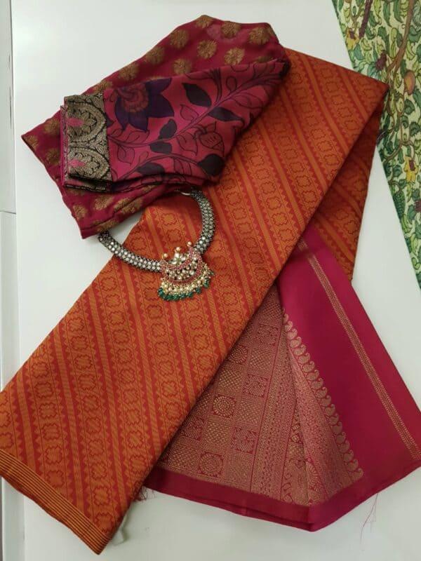 pink and orange upada style box type kanchipuram silk saree