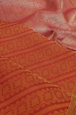 pink and orange upada style box type kanchipuram silk saree1