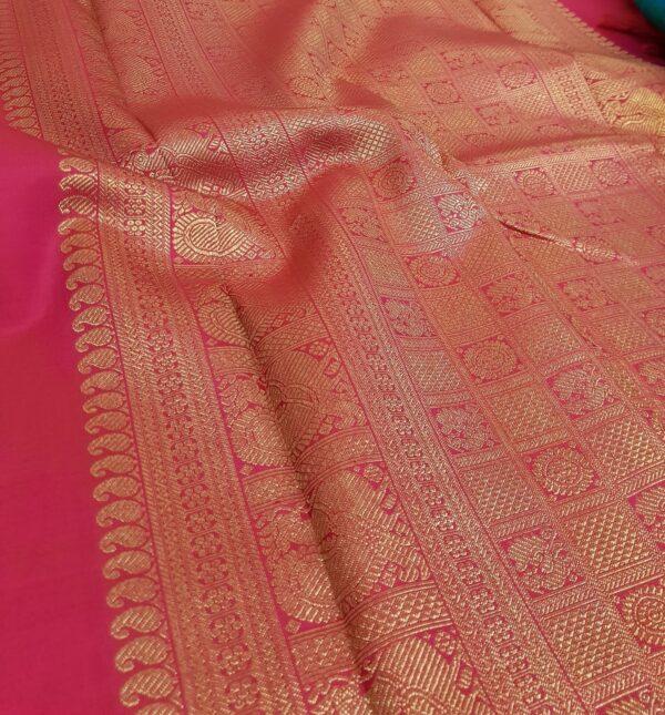 pink and orange upada style box type kanchipuram silk saree2