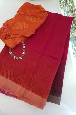 pink linen moonga saree