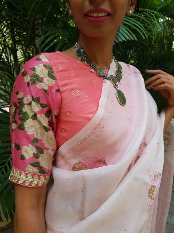 pink prakruthi floral blouse