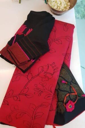 pink with black kanchi silk pallu