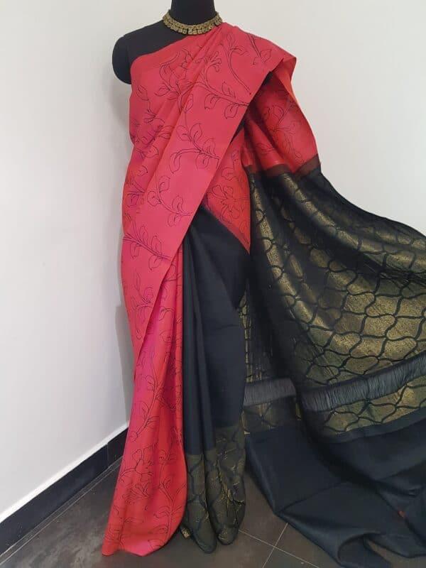 pink with black kanchi silk pallu1