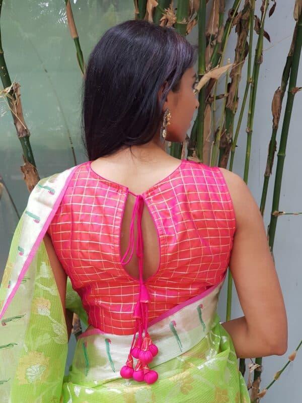 rani pink silk sleeveless blouse