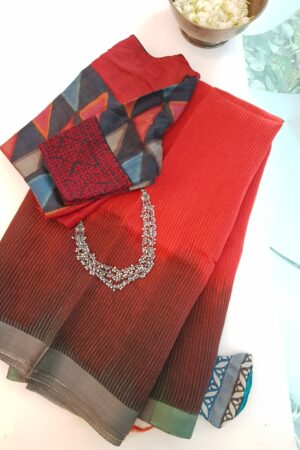 red and brown shaded moonga linen saree