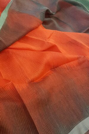 red and brown shaded moonga linen saree1