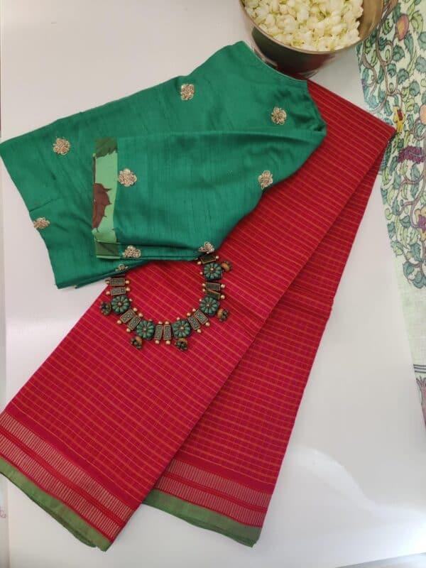 red kanchi cotton saree