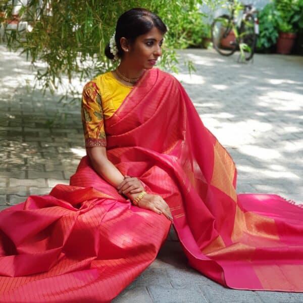 red kanchi silk with box pallu and upada body