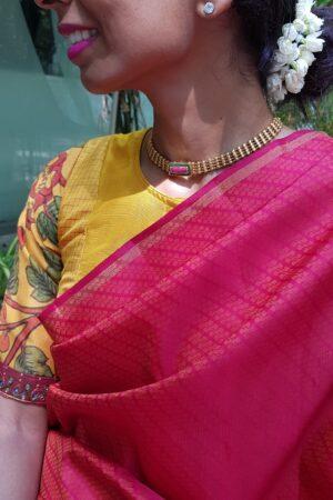 red kanchi silk with box pallu and upada body1