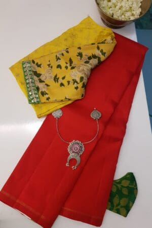 red lavanyam kanchi silk saree