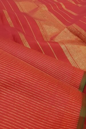 red rising border kanchi silk saree with zari lines