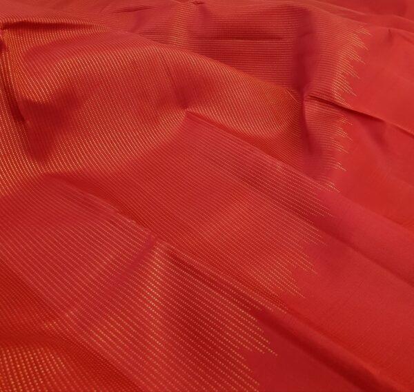 red rising border kanchi silk saree with zari lines1