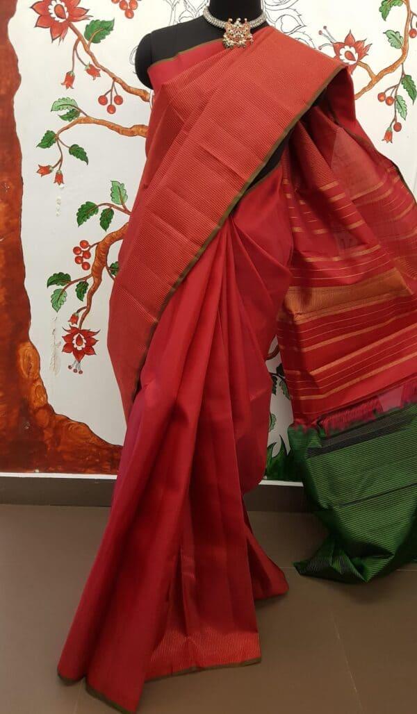 red rising border kanchi silk saree with zari lines3