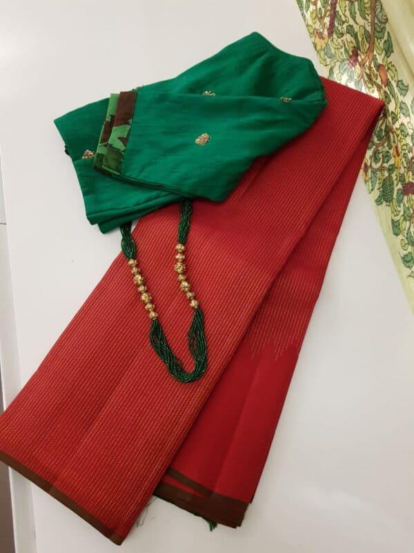 red rising border kanchi silk saree with zari lines4