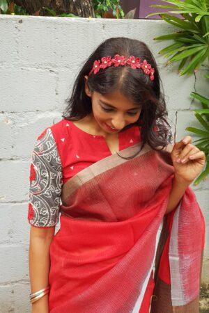 red shaded moonga linen saree2