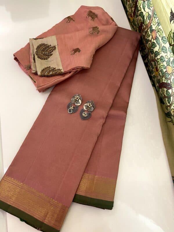 salmon pink vaira oosi kanchipuram silk saree
