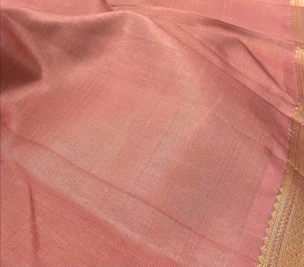 salmon pink vaira oosi kanchipuram silk saree1