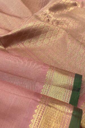 salmon pink vaira oosi kanchipuram silk saree2