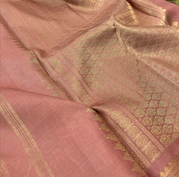 salmon pink vaira oosi kanchipuram silk saree3