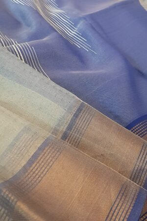 silver with blue tissue tussar saree1