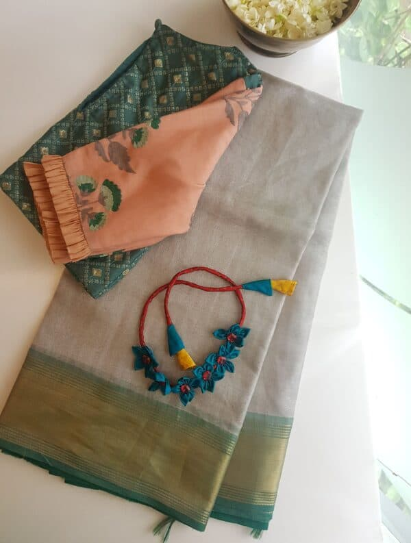silver with green tissue tussar saree