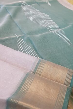 silver with green tissue tussar saree1