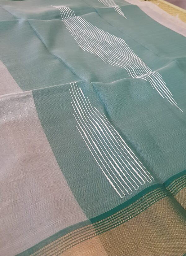 silver with green tissue tussar saree3