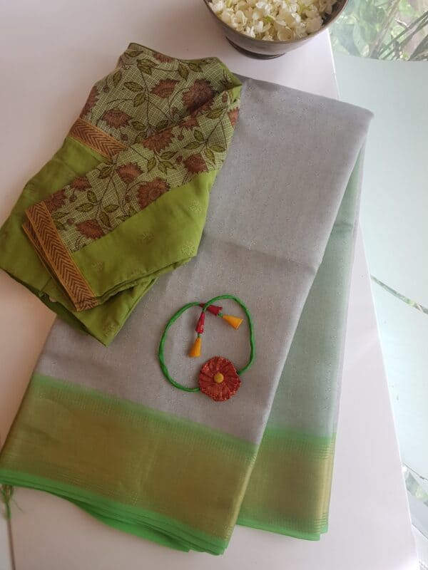 silver with lime green tissue tussar saree