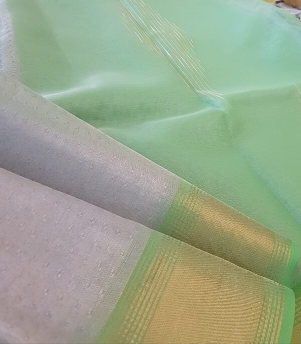 silver with lime green tissue tussar saree1