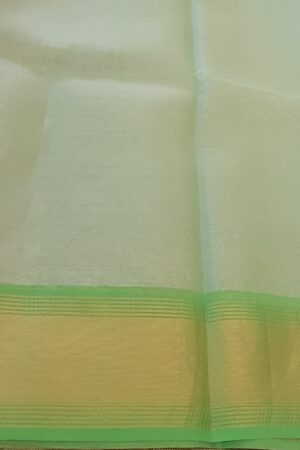 silver with lime green tissue tussar saree2
