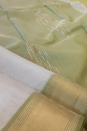 silver with olive green tissue tussar saree1