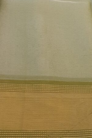 silver with olive green tissue tussar saree2