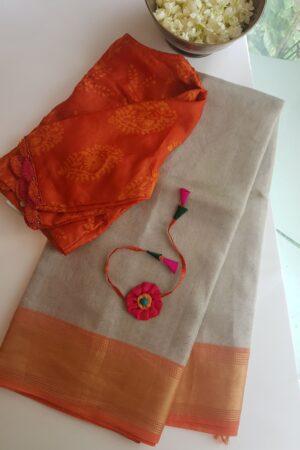 silver with peach tissue tusar saree