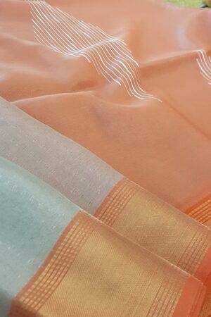 silver with peach tissue tusar saree1