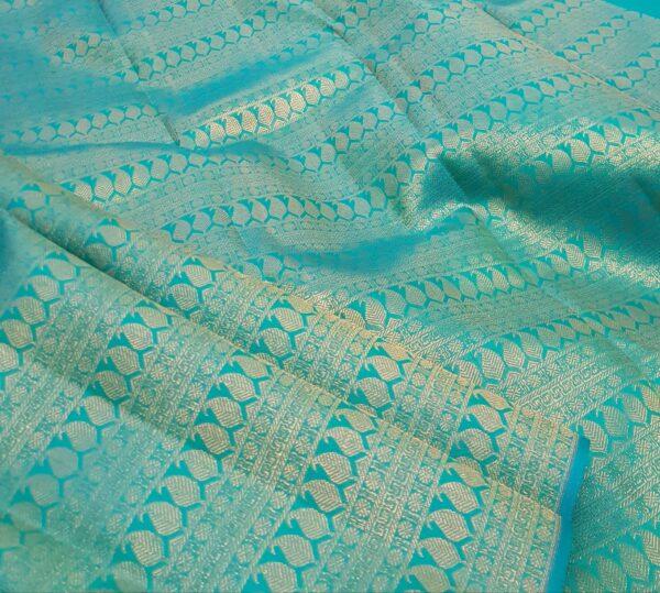 teal green half rising kanchi silk saree1