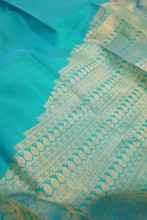 teal green half rising kanchi silk saree2
