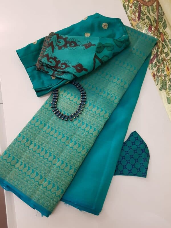 teal green half rising kanchi silk saree4